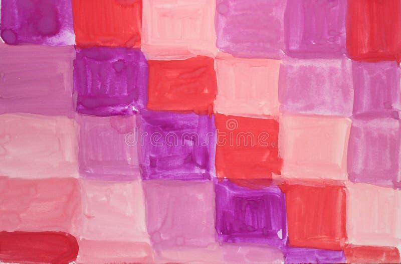 Fondo strutturato dell'estratto dell'acquerello con i quadrati multicolori illustrazione vettoriale