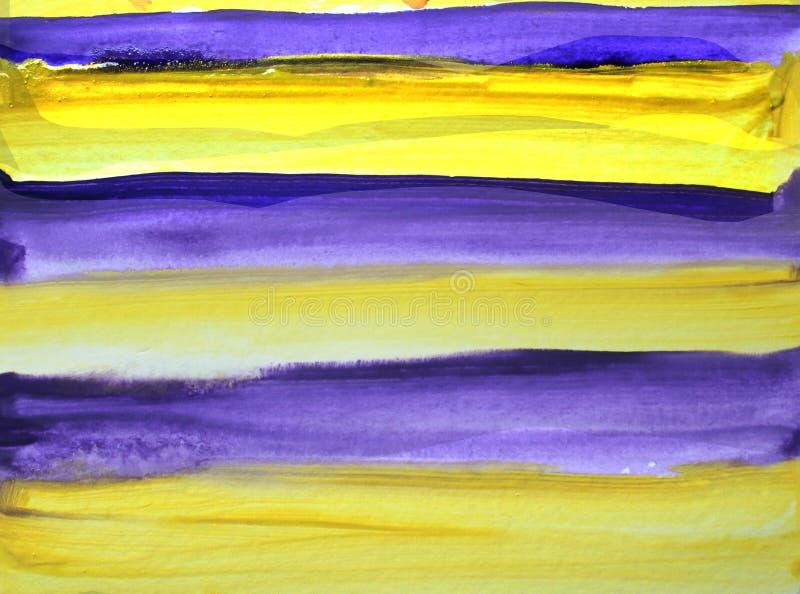 Fondo strutturato dell'estratto dell'acquerello con le linee lilla e gialle illustrazione vettoriale