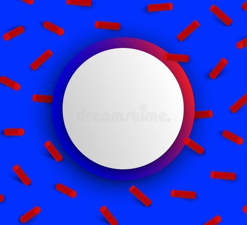 Fondo strutturato rotondo blu con il modello geometrico rosso 3d illustrazione di stock