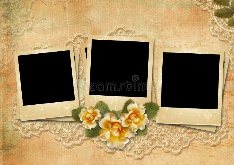Fondo stupefacente d'annata con polaroid-strutture e rose illustrazione vettoriale