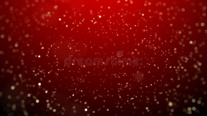 Fondo su fondo rosso, fondo di Natale della stella della neve di Natale Fondo astratto del bokeh illustrazione di stock