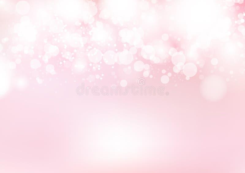 Fondo suave del extracto de la decoración del rosa de Bokeh, celebración, ejemplo de lujo en colores pastel del vector del día de stock de ilustración