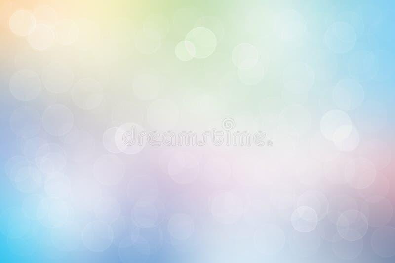 Fondo suave en colores pastel ligero abstracto agradable del bokeh del estilo del color SP ilustración del vector