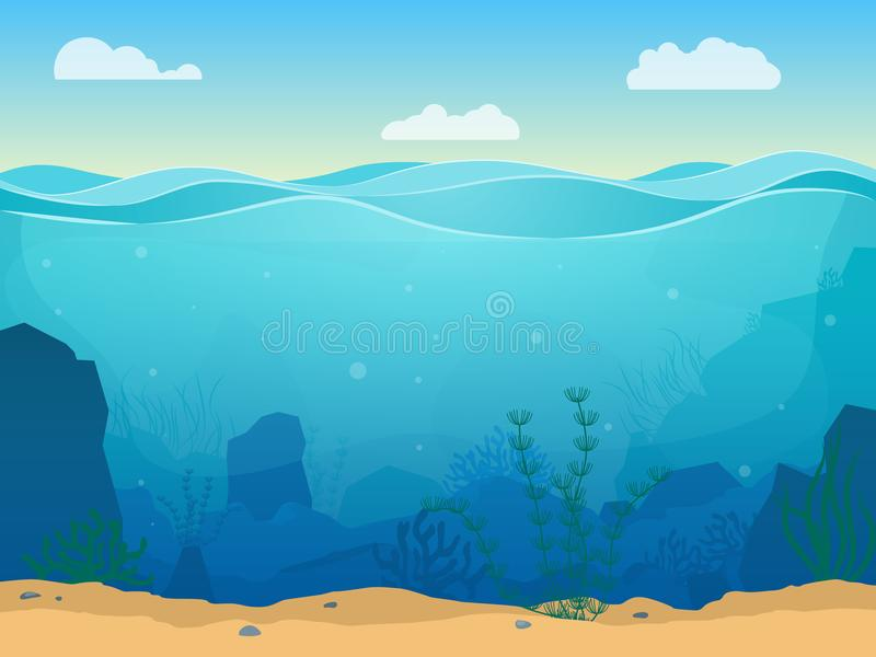 Fondo subacuático del color de la escena del mar de la historieta Vector libre illustration