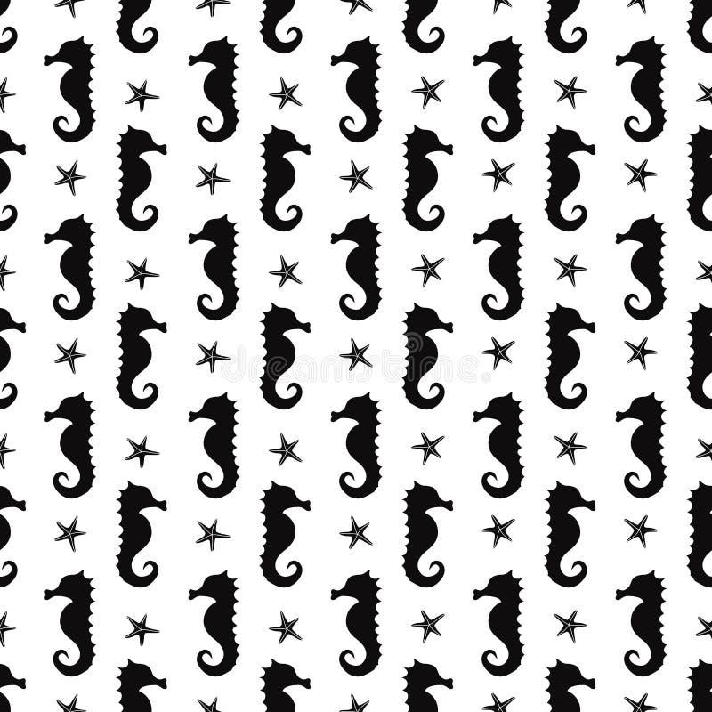 Fondo subacuático del seahorse blanco y negro libre illustration