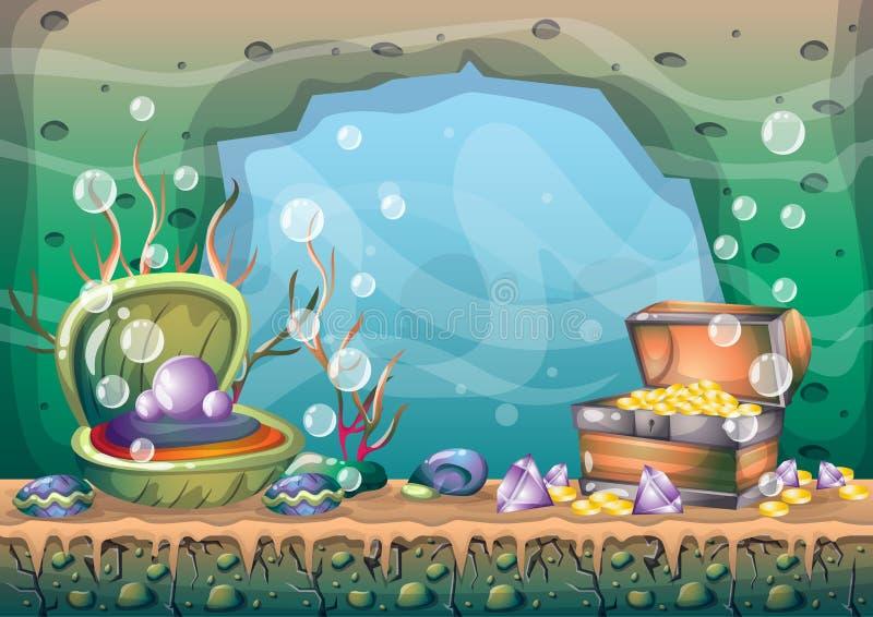 Fondo subacuático del tesoro del vector de la historieta con las capas separadas para el arte y la animación del juego stock de ilustración