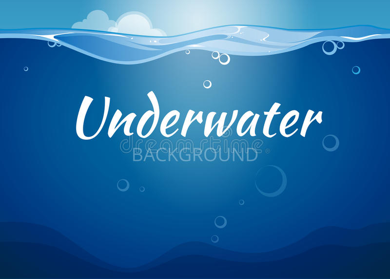 Fondo subacuático del vector en estilo del cómic stock de ilustración