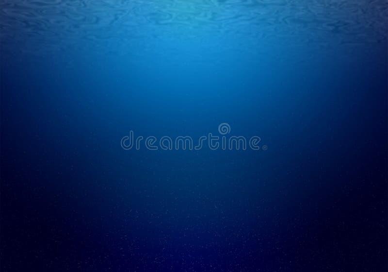 Fondo subacuático natural del océano profundo con luz del sol foto de archivo libre de regalías