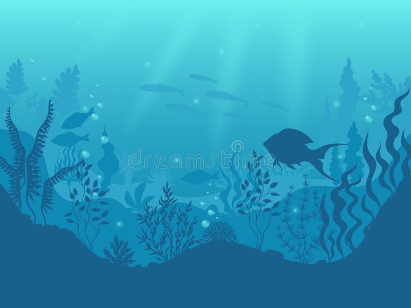 Fondo subacu?tico de la silueta Arrecife de coral submarino, pescados del oc?ano y escena marina de la historieta de las algas Vi stock de ilustración