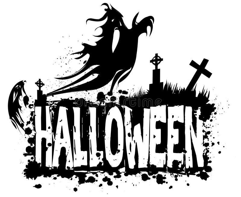 Fondo sucio de la silueta de Halloween libre illustration