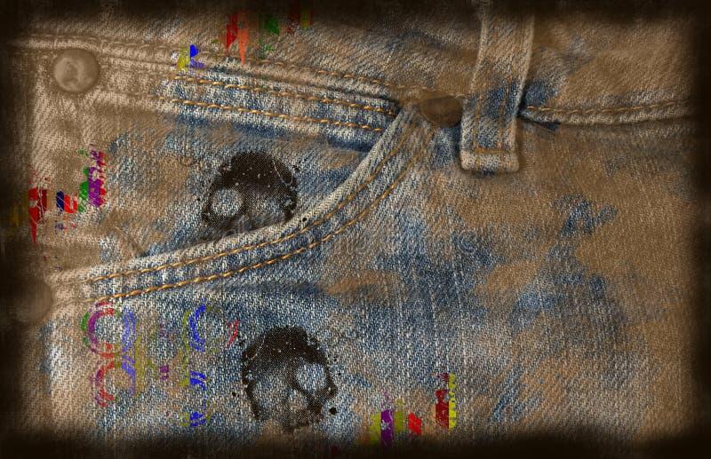 Fondo sucio de los pantalones vaqueros stock de ilustración