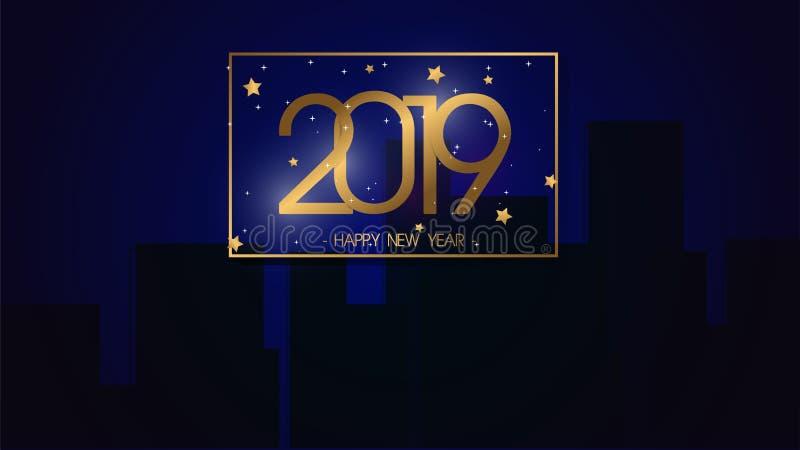 Fondo superior 2019 de la Feliz Año Nuevo del ejemplo del vector para la nueva tarjeta y otra de felicitación gran diseño moderno stock de ilustración
