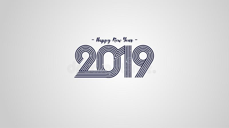 Fondo superior 2019 de la Feliz Año Nuevo del ejemplo del vector para la nueva tarjeta y otra de felicitación gran diseño moderno libre illustration