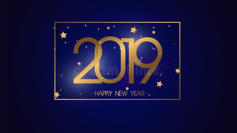 Fondo superior 2019 de la Feliz Año Nuevo del ejemplo del vector para la nueva tarjeta y otra de felicitación gran diseño moderno ilustración del vector