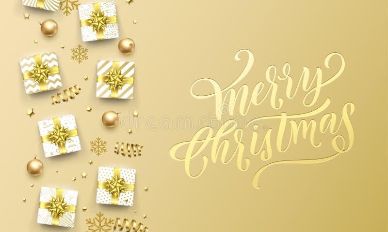 Fondo superior de oro de la tarjeta de felicitación de la Feliz Navidad Las letras de la caligrafía de la Navidad del vector grab stock de ilustración