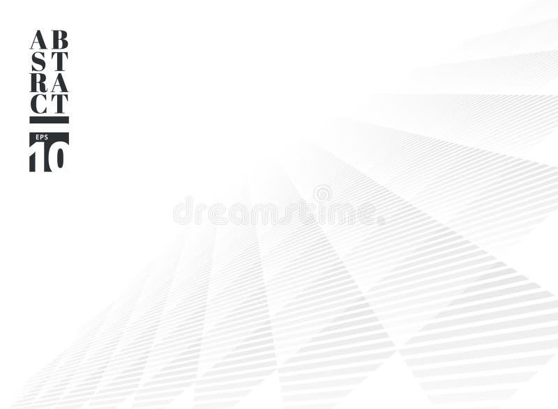 Fondo sutil blanco y gris abstracto de la perspectiva del modelo del cuadrado de enrejado Estilo moderno con enrejado monocrom?ti ilustración del vector