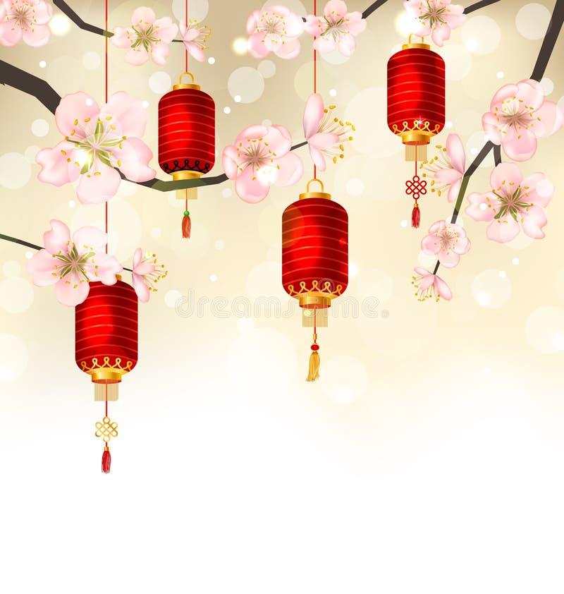 Fondo sveglio con Sakura Blossom e le lanterne d'attaccatura royalty illustrazione gratis