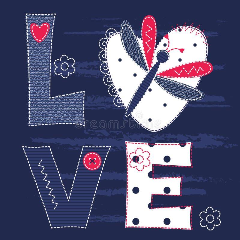 Fondo sveglio del bambino con le lettere e la libellula illustrazione vettoriale