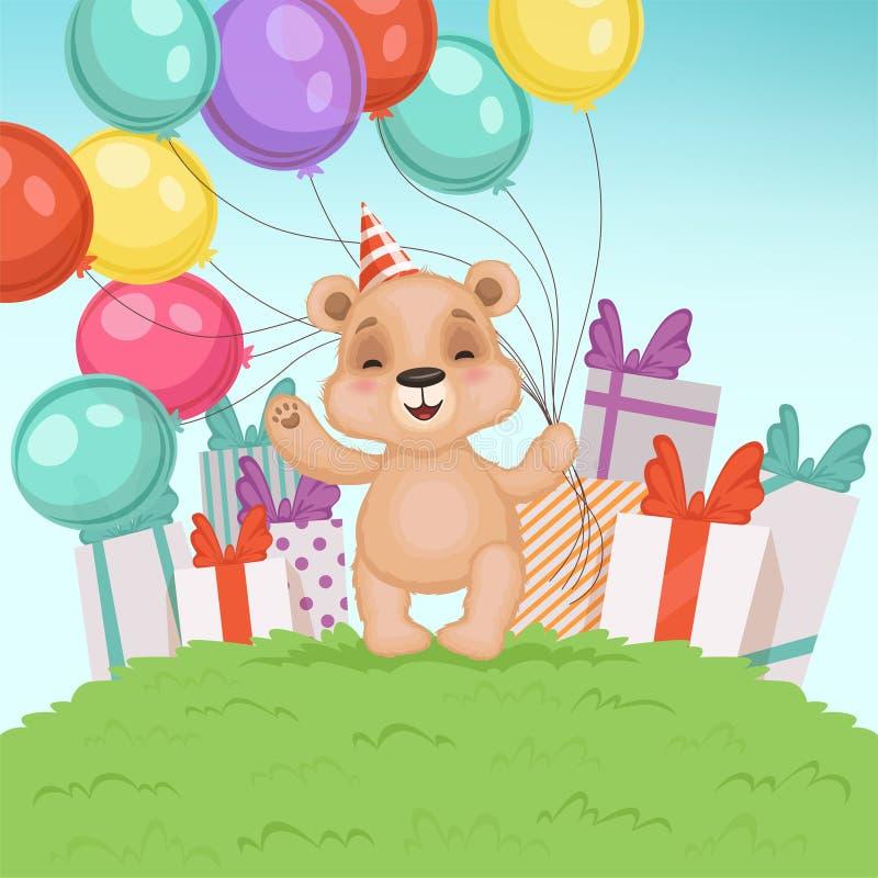Fondo sveglio dell'orso Il giocattolo divertente dell'orsacchiotto per i bambini che si siedono o che stanno il compleanno o i re illustrazione di stock
