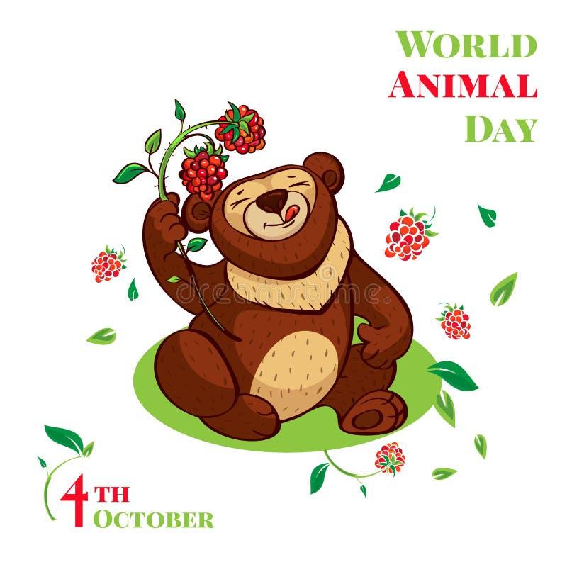 Fondo sveglio di concetto dell'orso di giorno animale del mondo, stile del fumetto illustrazione di stock