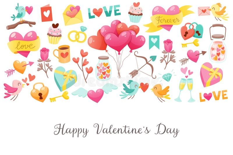 Fondo sveglio di giorno del ` s del biglietto di S. Valentino in pieno degli elementi royalty illustrazione gratis