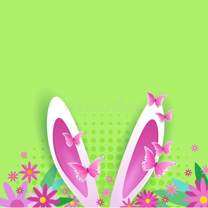 Fondo sveglio di Pasqua con progettazione d'annata della cartolina d'auguri di Bunny Ears Over Copy Space illustrazione di stock