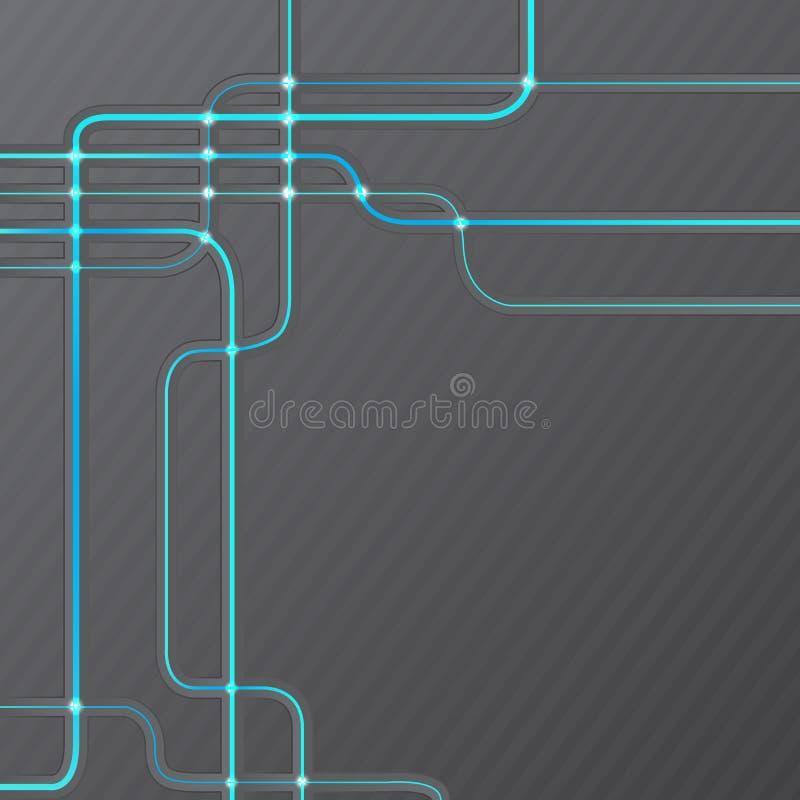 Fondo técnico abstracto del grunge de la alta tecnología stock de ilustración