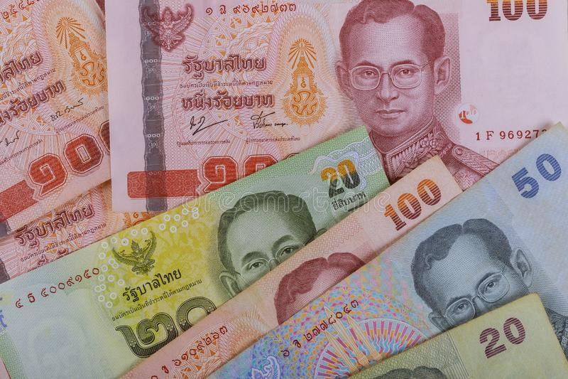 Fondo tailandés del primer de los billetes de banco del dinero del primer, dinero de Tailandia para el negocio foto de archivo libre de regalías