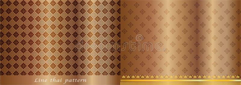 Fondo tailandés del vintage del oro del modelo ilustración del vector
