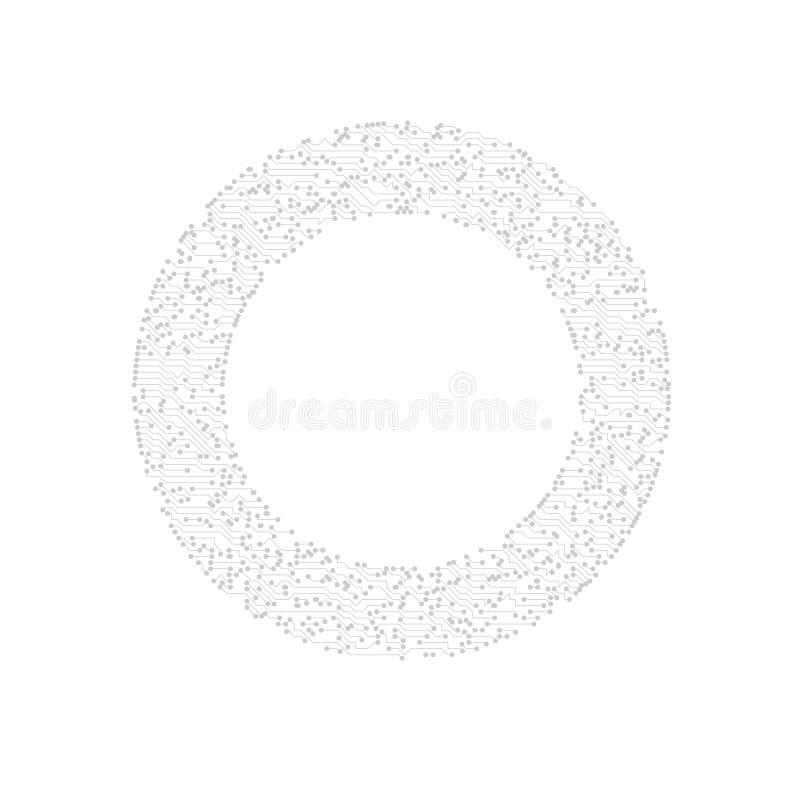 Fondo techno del circuito del cerchio royalty illustrazione gratis