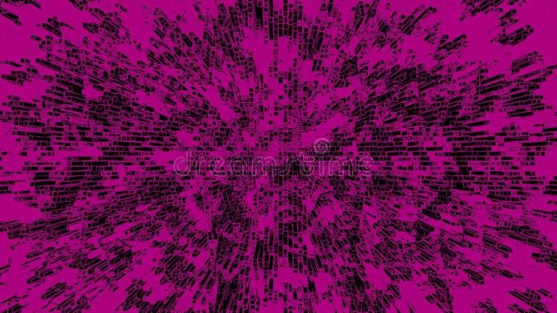 Fondo techno di astrazione del nero di rosa illustrazione di stock