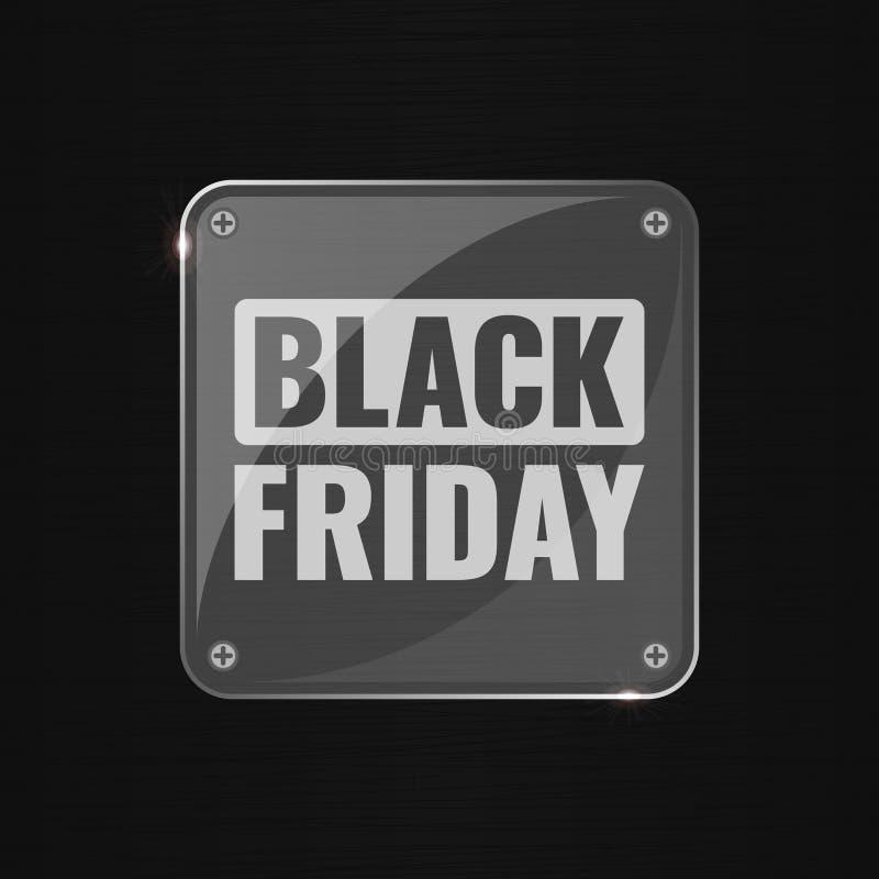 Fondo techno di vendita di Black Friday, acquisto online e concetto di vendita, illustrazione di vettore di tecnologia con vetro illustrazione vettoriale