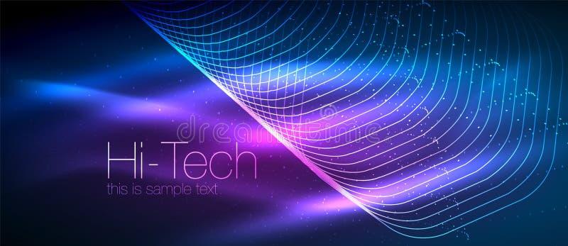 fondo techno futuristico di Ciao-tecnologia, forme al neon e punti illustrazione di stock