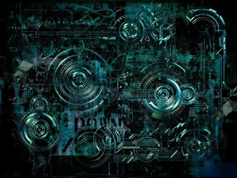 Fondo tecnicamente elettronico, illustrazione 3D royalty illustrazione gratis