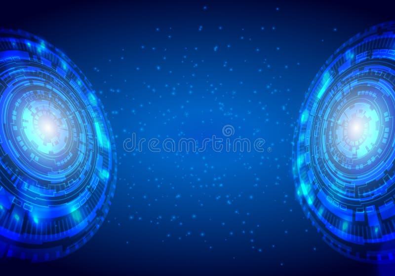 Fondo tecnológico abstracto azul con los diversos elementos tecnológicos Vector ilustración del vector