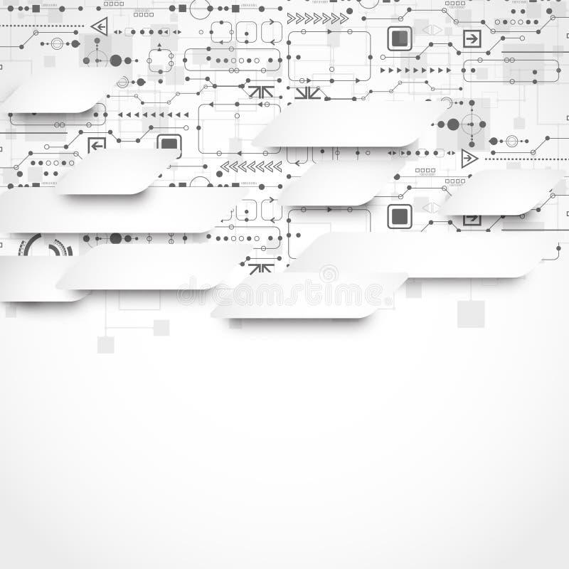 Fondo tecnológico abstracto con el diverso ele tecnológico ilustración del vector