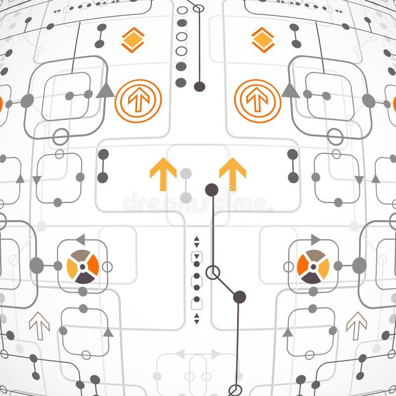Fondo tecnológico abstracto con los diversos elementos libre illustration