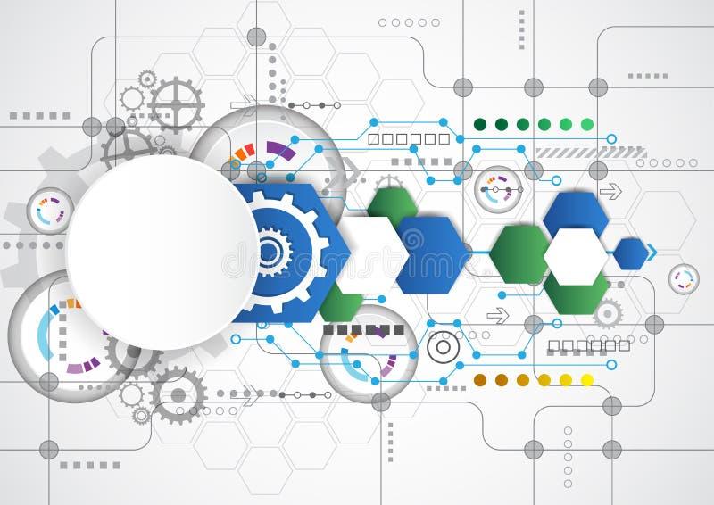Fondo tecnológico abstracto con los diversos elementos tecnológicos vector del ejemplo stock de ilustración
