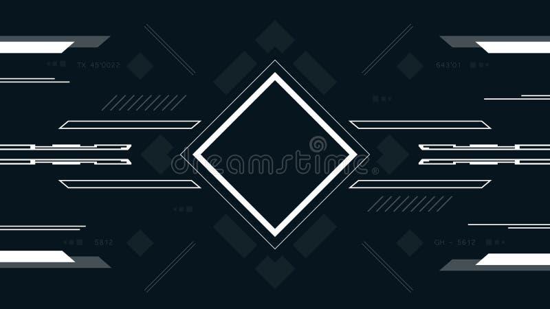 Fondo tecnológico con el cuadrado Pantalla de alta tecnología de la interfaz de usuario futurista del juego del diseño de concept ilustración del vector