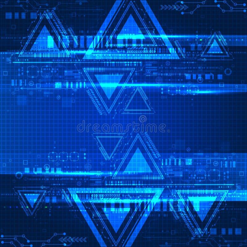 Fondo tecnológico del color azul abstracto stock de ilustración