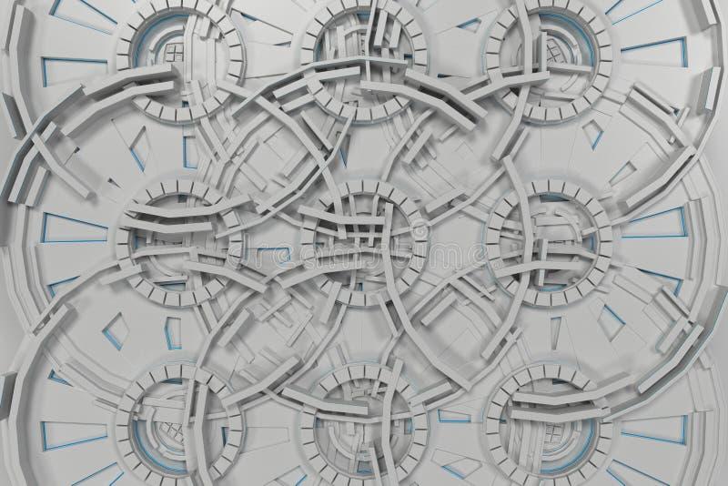 Fondo tecnológico futurista blanco con las líneas que brillan intensamente ilustración del vector
