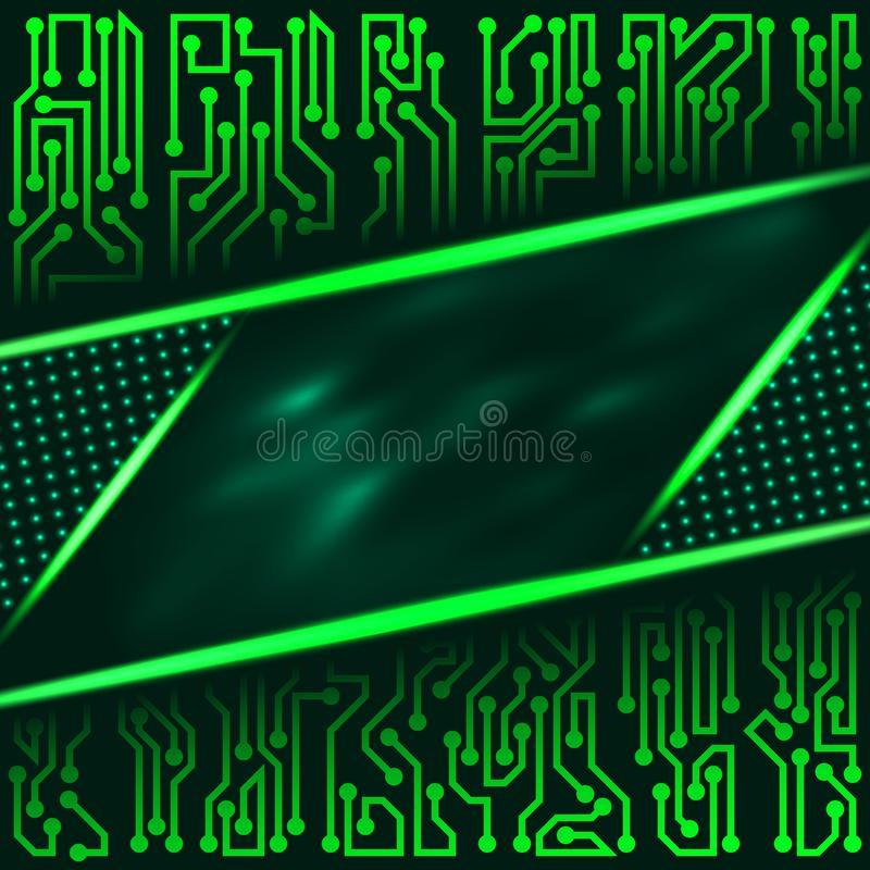 Fondo tecnológico futurista del extracto de sombras verdes con con los elementos de la placa de circuito stock de ilustración