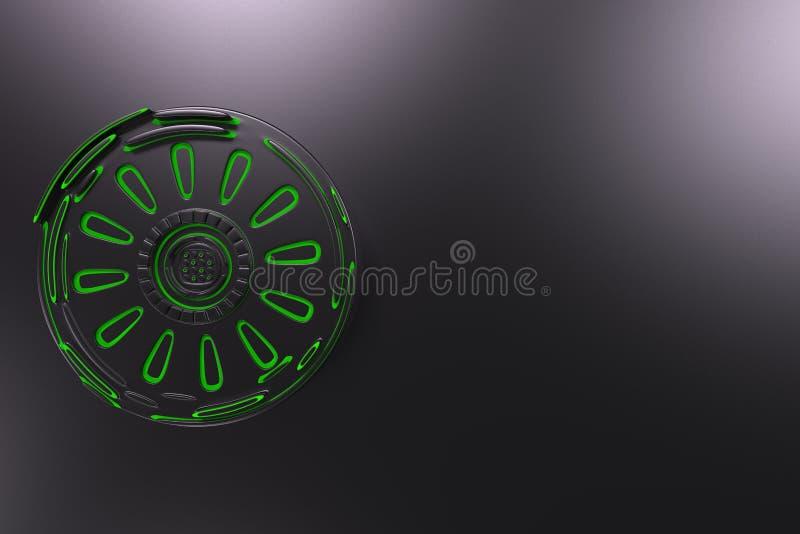Fondo tecnológico futurista oscuro con las líneas que brillan intensamente ilustración del vector