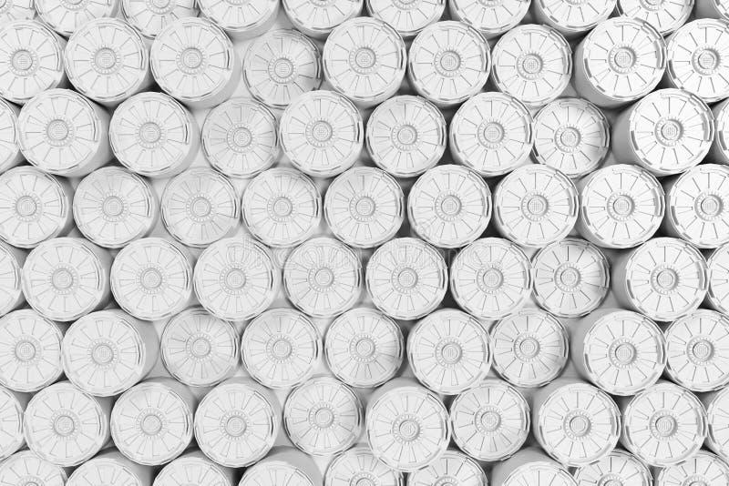 Fondo tecnologico futuristico bianco con le linee d'ardore illustrazione di stock