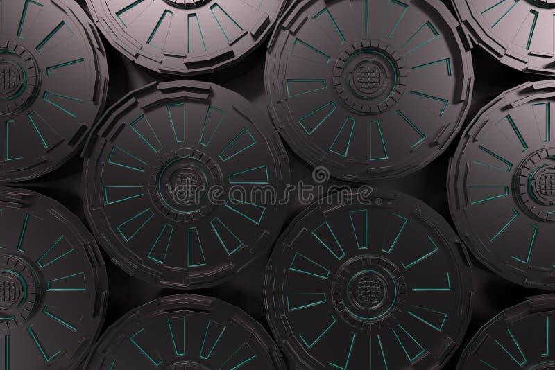Fondo tecnologico futuristico scuro con le linee d'ardore illustrazione di stock