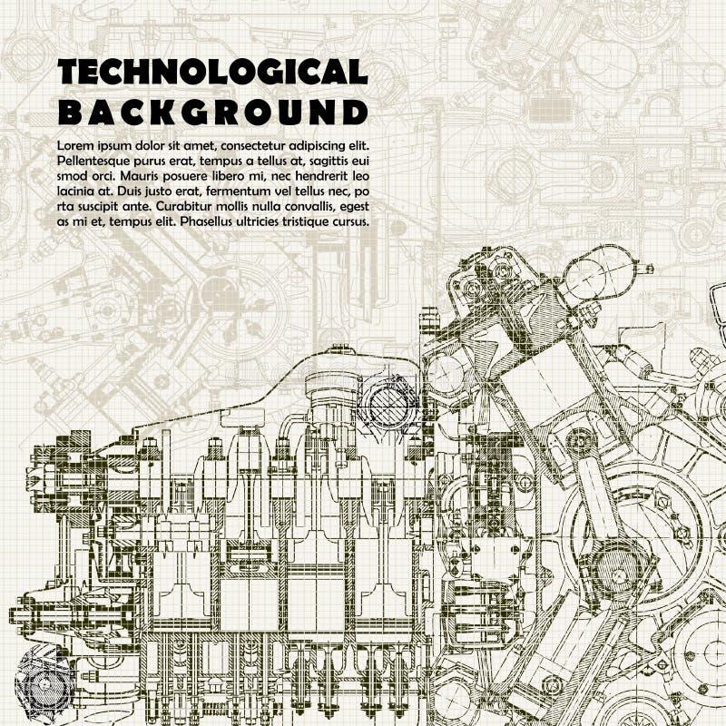 Fondo tecnologico, motore di disegno illustrazione vettoriale