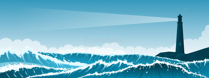 Fondo tempestuoso del paisaje marino con el faro libre illustration
