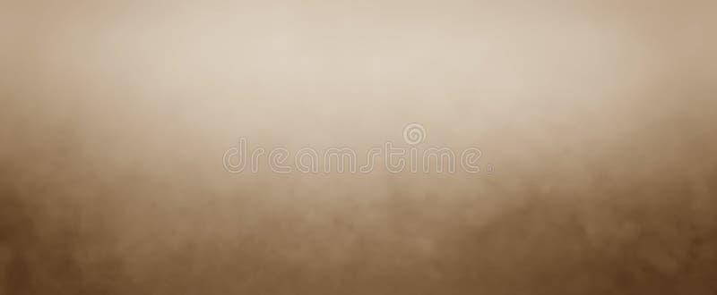 Fondo terroso de Brown con la niebla blanca Fondo marrón suave con el centro ligero y frontera oscura y textura abigarrada vintag foto de archivo libre de regalías