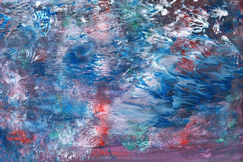 Fondo textural abstracto con líneas de pintura rojas, azules y violetas con divorcios blancos, flechas, entradas, costas, imagenes de archivo