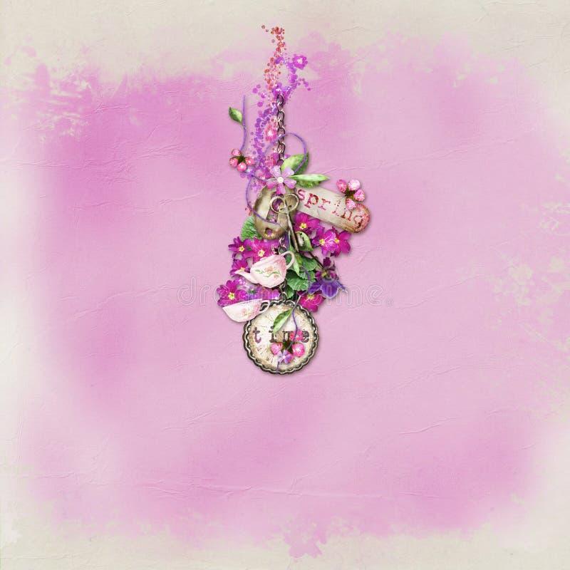 Fondo textured color de rosa stock de ilustración